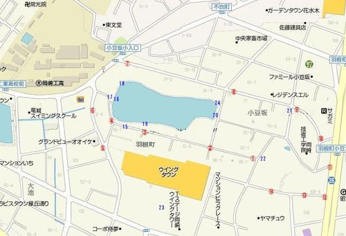 岡崎競馬場の現在(番号は撮影ポイントです)